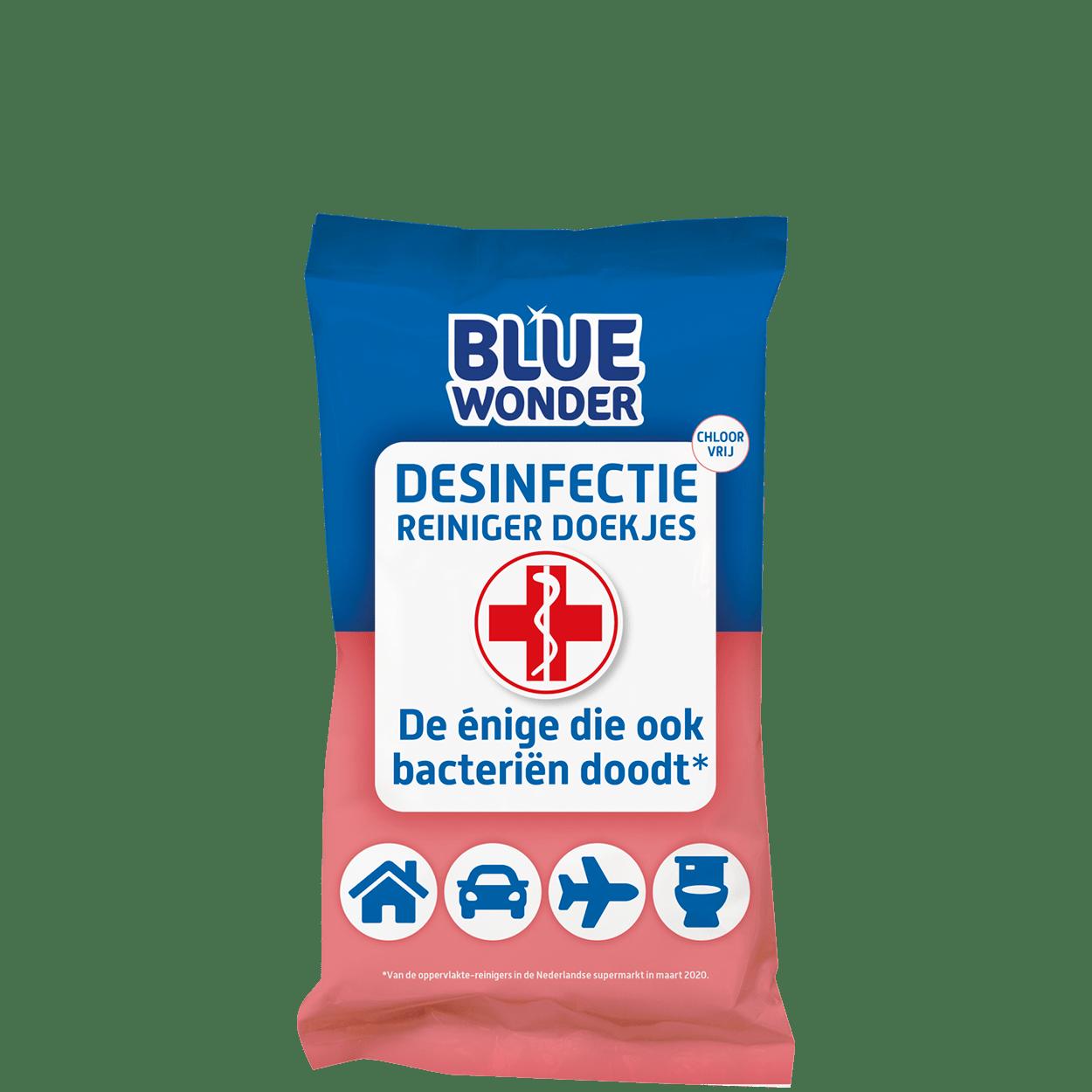 8712038001608 Blue Wonder Desinfectie Reiniger doekjes 20 front