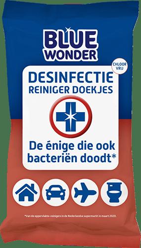 8712038001608 Blue Wonder Desinfectie Reiniger doekjes 20 front 500px