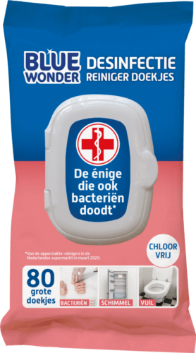 8712038001707 Blue Wonder Desinfectie Reiniger doekjes 80 front 1