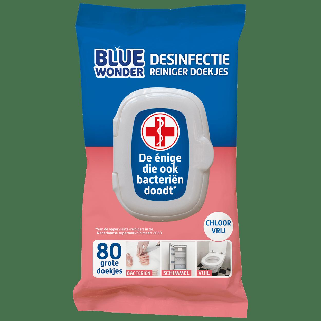 8712038001707 Blue Wonder Desinfectie Reiniger doekjes 80 front