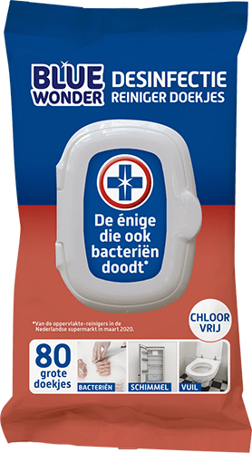 8712038001707 Blue Wonder Desinfectie Reiniger doekjes 80 front 500px