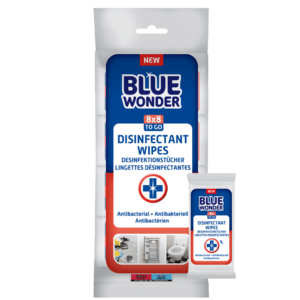 8712038002148 Blue Wonder Disinfectant wipes Desinfektionstucher Lingettes desinfectantes Multipack 8x8 front