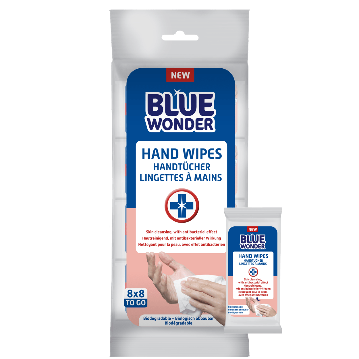 Skin cleansing, with antibacterial effect. Blue Wonder Hand Wipes effectively clean and protect the skin of the hands and body. The Blue Wonder Hand Wipes are now available in an easy mini size. Take it with you on the road, on a trip, or for a walk. 1 Mini size fits even the smallest size bag. Due to the unique composition, Blue Wonder Hand Wipes are biodegradable.