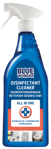 Blue Wonder Disinfectant Cleaner is unique because it cleans and disinfects at the same time. Blue Wonder Disinfectant Cleaner is suitable for daily cleaning of counter tops, the toilet, the bathroom, door handles, tables, worktops, the fridge, toys and much more. Chlorine-free. Blue Wonder Disinfectant Spray is ready to use.