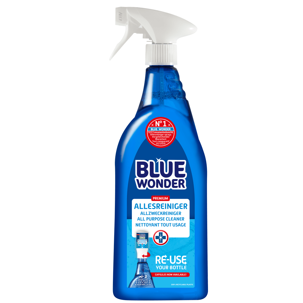 100% HYGIENIC, POWERFUL DEGREASER.  Removes grease, dirt and stains with ease. Use Blue Wonder for your kitchen, counter, extractor hood, cooker, griddle, flooring, upholstery, tiles, windows, mirrors, doors, woodwork, furniture, toys, bins, caravan, garden furniture, boat, rims, car interior, engine, windscreen washer, stains on washable clothing and much more.