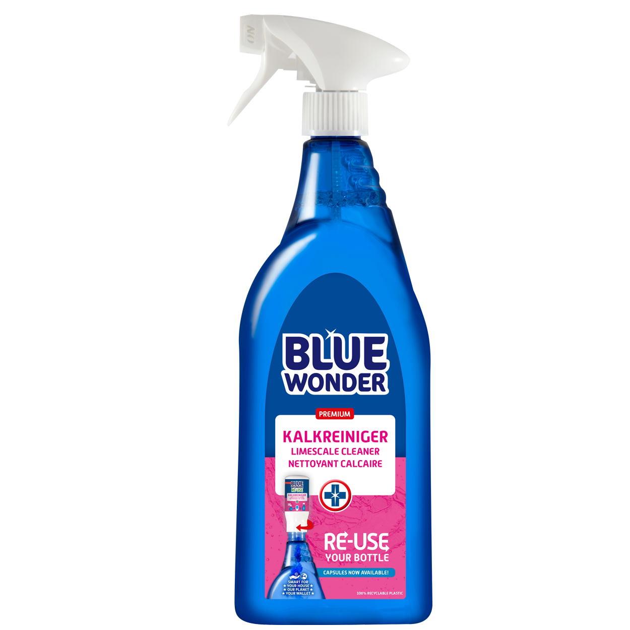 100% HYGIENIC, EXTREMELY POWERFUL. Removes limescale, dirt and grease with ease. Use Blue Wonder to descale and clean your basin, toilet, shower door, mirrors, bath, taps, glass screen, tiles and much more.