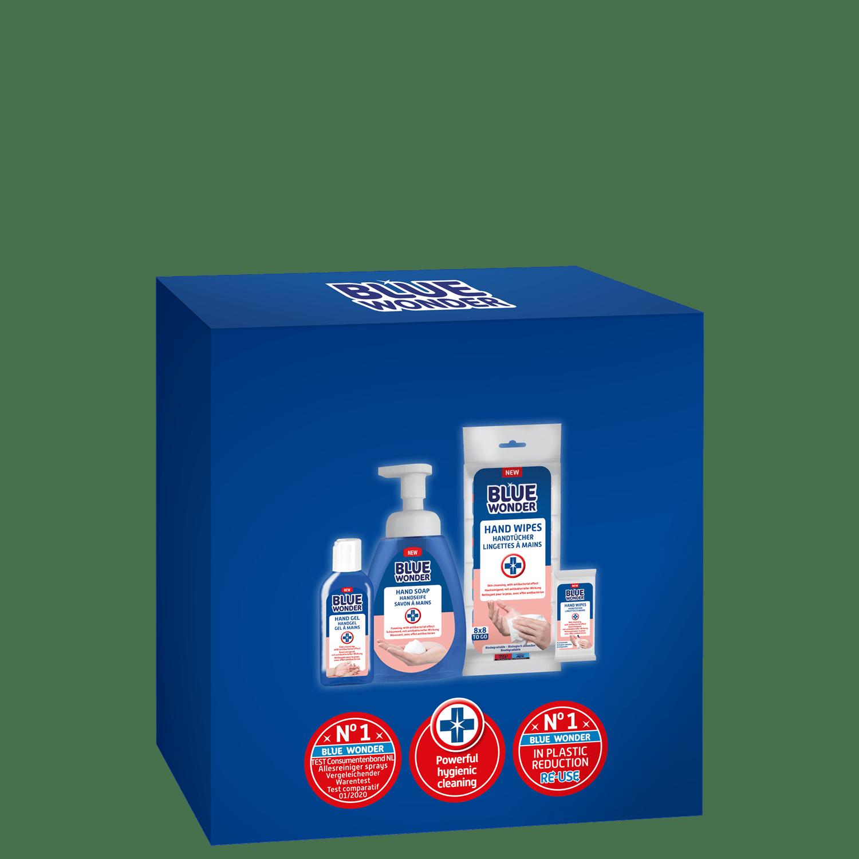 Hand gel 100 ml Hand soap 225 ml Hand wipes 8×8
