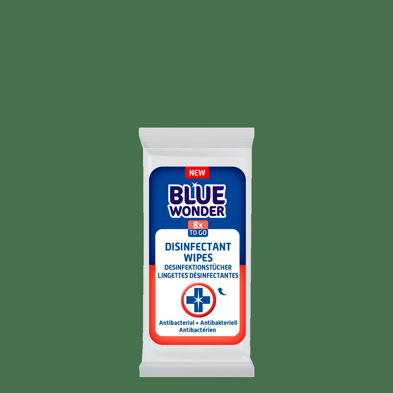 Blue Wonder Disinfectant wipes Desinfektionstucher Lingettes desinfectantes 1x8 front