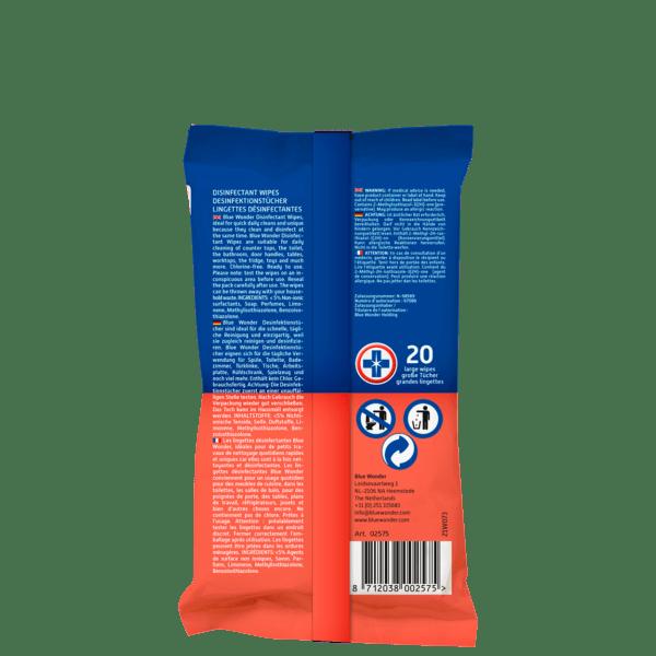 Blue Wonder Disinfectant wipes Desinfektionstucher Lingettes desinfectantes 20 back
