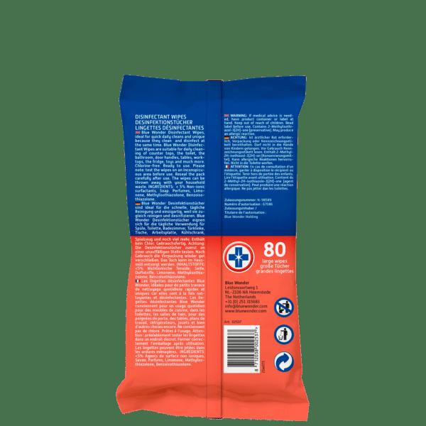Blue Wonder Disinfectant wipes Desinfektionstucher Lingettes desinfectantes 80 back
