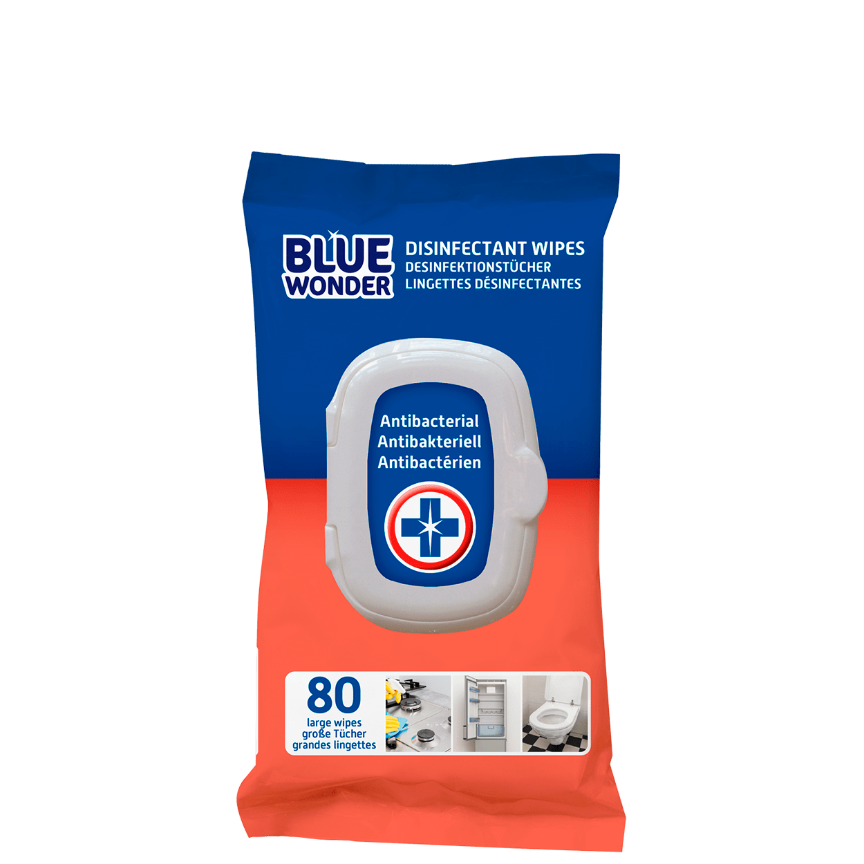 Blue Wonder Disinfectant Wipes, ideal for quick daily cleans and unique because they clean and disinfect at the same time. Blue Wonder Disinfectant Wipes are suitable for daily cleaning of counter tops, the toilet, the bathroom, door handles, tables, worktops, the fridge, toys and much more. Chlorine-free. Ready to use. Please note: test the wipes on an inconspicuous area before use. Reseal the pack carefully after use. The wipes can be thrown away with your household waste.