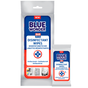 Blue Wonder Disinfectant wipes Desinfektionstucher Lingettes desinfectantes 8x8 front