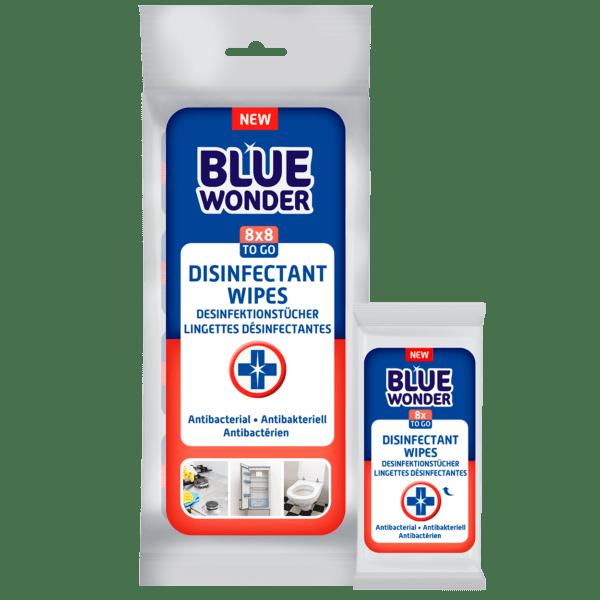 Blue Wonder Disinfectant wipes Desinfektionstucher Lingettes desinfectantes 8x8 front