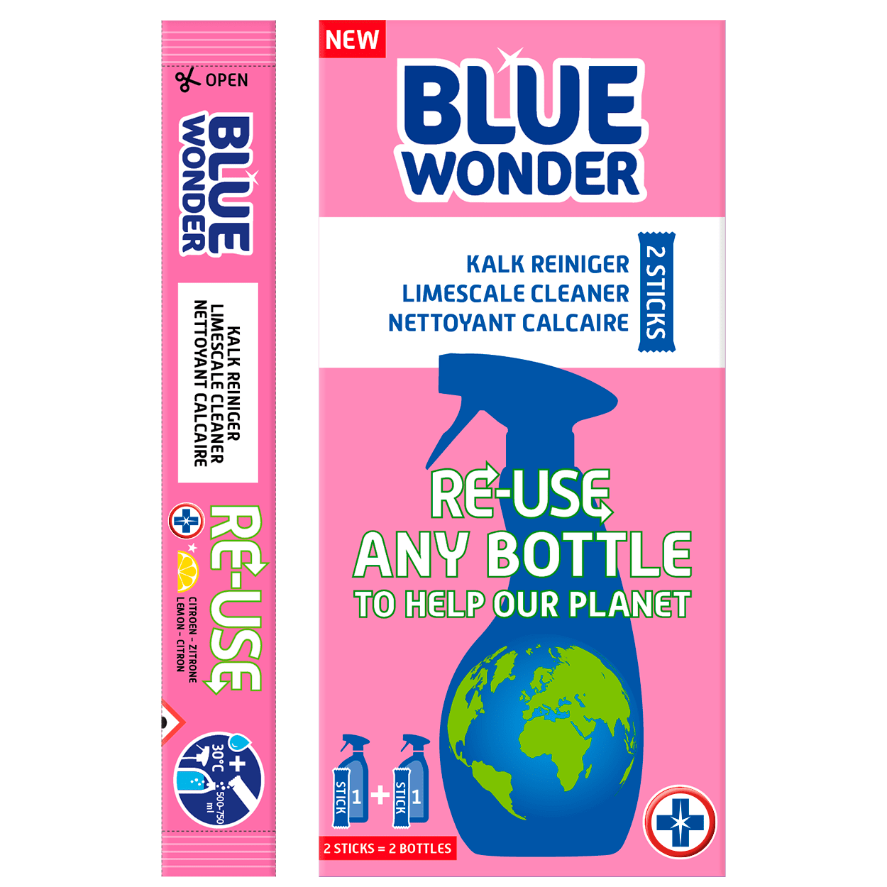 This box Blue Wonder contains 2 very powerful sticks. The contents of 1 stick easily dissolves in a bottle with 500-750 ml warm water, transforming into a strong MULTI-HYGIENIC CLEANER, LIMESCALE CLEANER OR KITCHEN DEGREASER. Reusing your plastic bottles will help our planet stay blue – patent pending. 100% vegan!  PREPARE CLEANER IN 3 STEPS RE-USE: Take a used bottle. Rinse the bottle & sprayer with water. Fill the bottle with 500-750 ml warm water (30° Celsius). FILL: Pour the contents of 1 stick in the bottle with warm water, attach the sprayer and wait 1-3 minutes. Wash your hands well afterwards. SHAKE: Shake the bottle a little and your LIMESCALE CLEANER is ready for use!