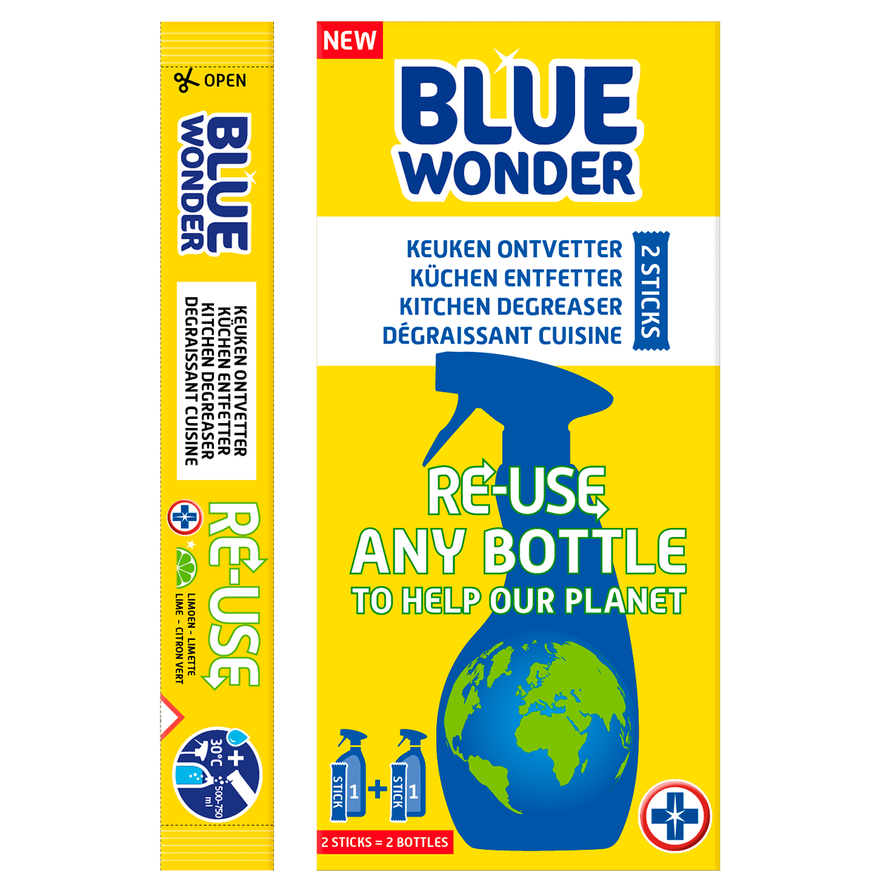 This box Blue Wonder contains 2 very powerful sticks. The contents of 1 stick easily dissolves in a bottle with 500-750 ml warm water, transforming into a strong MULTI-HYGIENIC CLEANER, LIMESCALE CLEANER OR KITCHEN DEGREASER. Reusing your plastic bottles will help our planet stay blue – patent pending. 100% vegan!  PREPARE CLEANER IN 3 STEPS RE-USE: Take a used bottle. Rinse the bottle & sprayer with water. Fill the bottle with 500-750 ml warm water (30° Celsius). FILL: Pour the contents of 1 stick in the bottle with warm water, attach the sprayer and wait 1-3 minutes. Wash your hands well afterwards. SHAKE: Shake the bottle a little and your KITCHEN DEGREASER is ready for use!