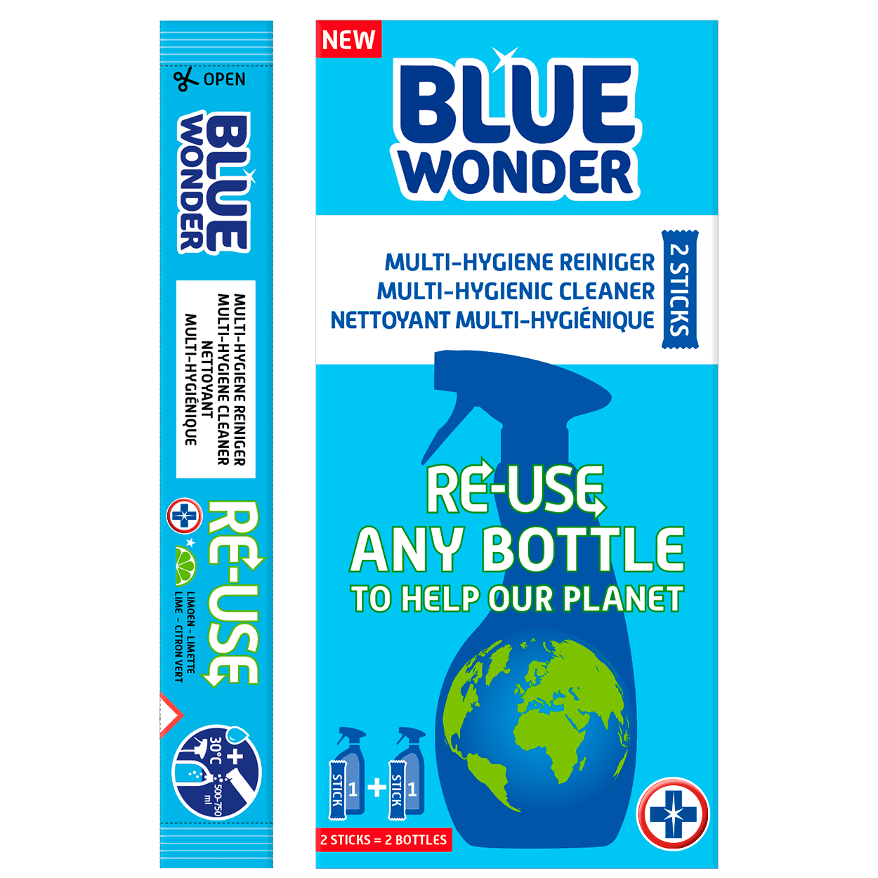 This box Blue Wonder contains 2 very powerful sticks. The contents of 1 stick easily dissolves in a bottle with 500-750 ml warm water, transforming into a strong MULTI-HYGIENIC CLEANER, LIMESCALE CLEANER OR KITCHEN DEGREASER. Reusing your plastic bottles will help our planet stay blue – patent pending. 100% vegan!  PREPARE CLEANER IN 3 STEPS RE-USE: Take a used bottle. Rinse the bottle & sprayer with water. Fill the bottle with 500-750 ml warm water (30° Celsius). FILL: Pour the contents of 1 stick in the bottle with warm water, attach the sprayer and wait 1-3 minutes. Wash your hands well afterwards. SHAKE: Shake the bottle a little and your HYGIENIC CLEANER is ready for use!