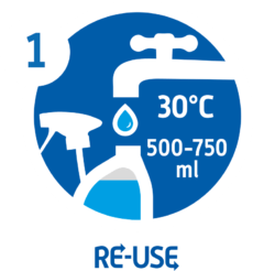 Take a used bottle. Rinse the bottle and the spray head with water. Fill the bottle with 500-750 ml of warm water (30° Celsius).