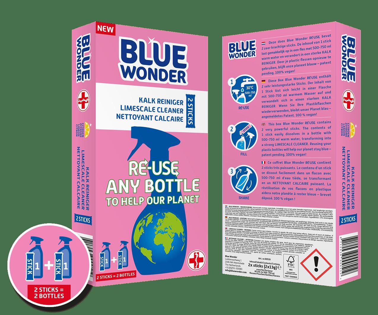 blue wonder re use box front back kalk limescale calcaire