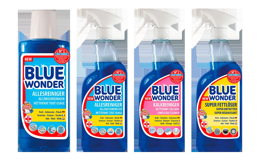 Restyling des nettoyants puissants Blue Wonder