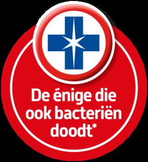Blue Wonder Desinfectie Reinigers doden bacteriën, als enige van de oppervlaktereinigers in de Nederlandse supermarkt in maart 2020.
