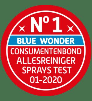 Consumentenbond: 'Deze spray is zowel de beste als de goedkoopste spray van de test. Vlekken en vuil worden ermee verwijderd en materialen worden niet aangetast.'